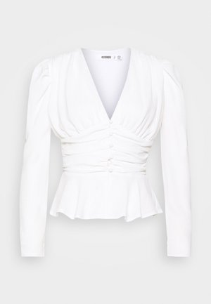 RUCHED PUFF SLEEVE PEPHEM TOP - Bluser - white
