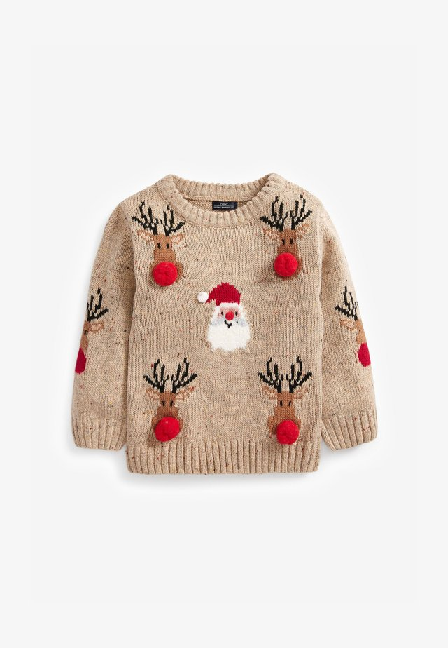 CHRISTMAS SANTA AND REINDEER POM POM  - Jumper - off-white