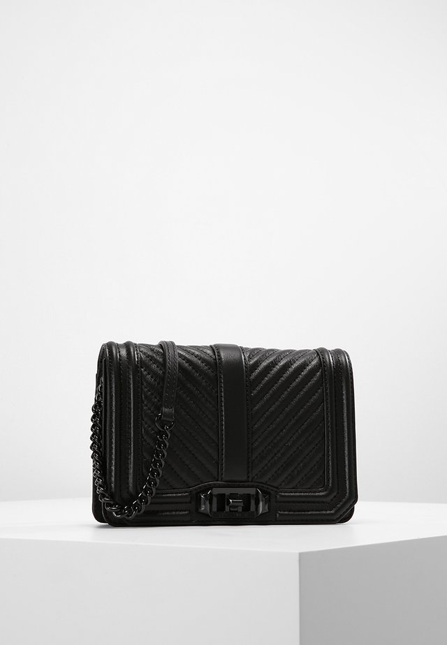 CHEVRON QUILTED LOVE CRO - Across body bag - black
