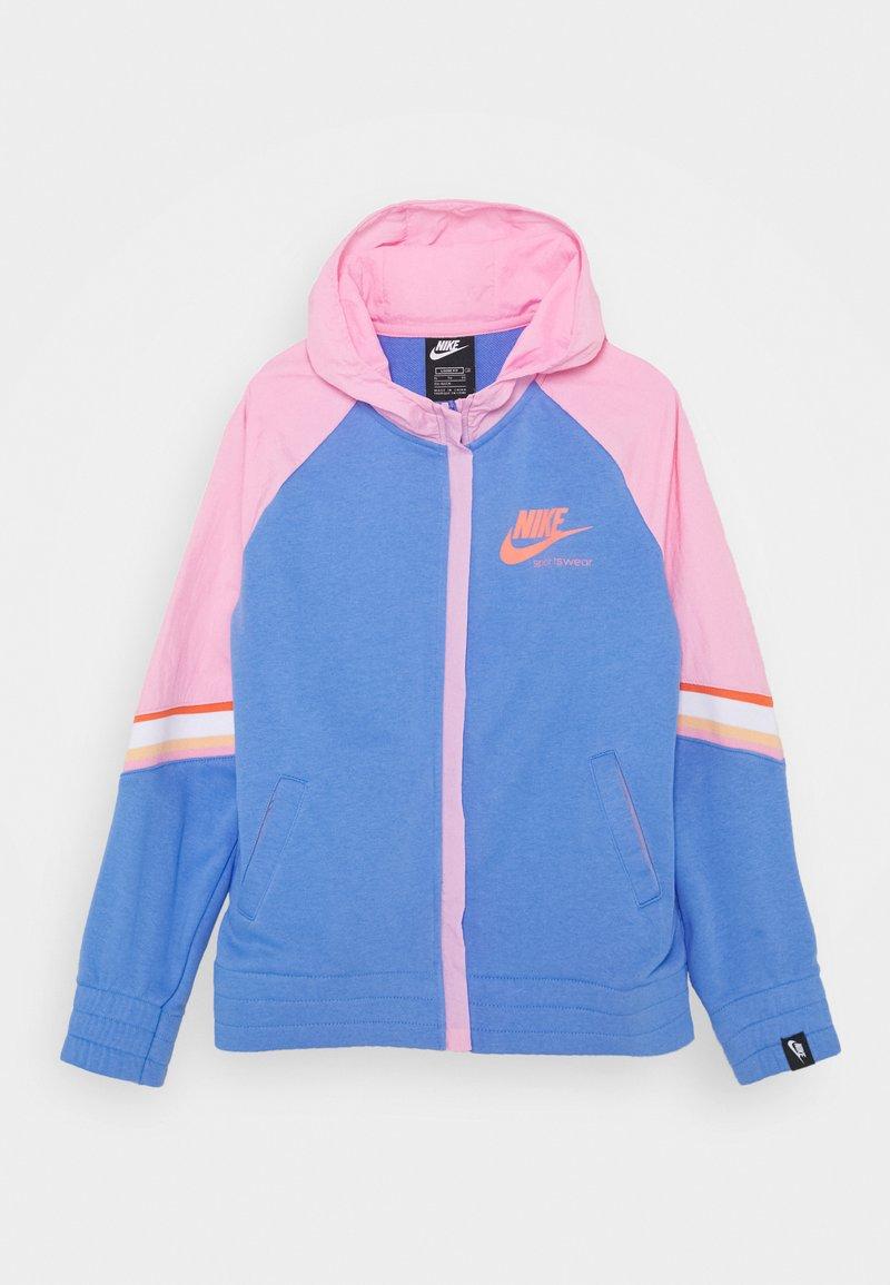 Nike Sportswear - HERITAGE HOODIE - Hoodie met rits - royal pulse/pink/atomic pink
