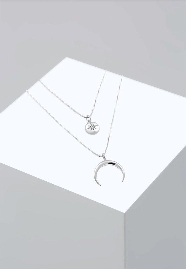 LAYER LOOK HALF MOON STAR - Ketting - silver-coloured