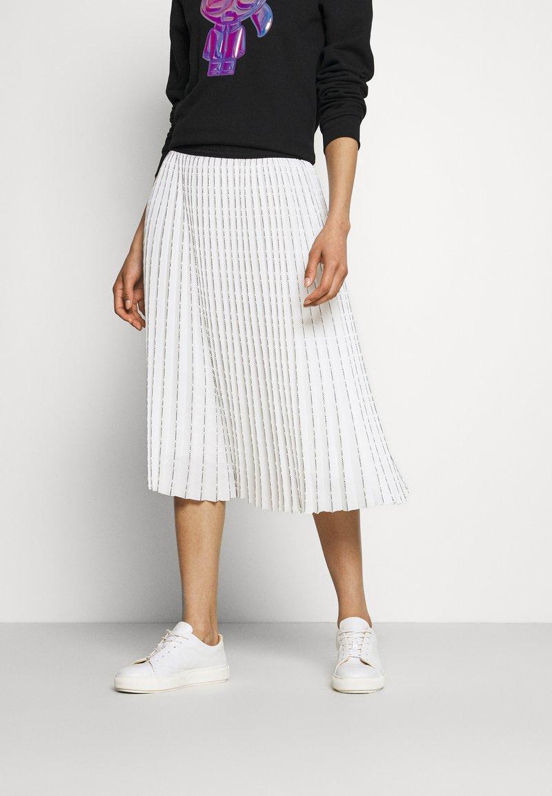 KARL LAGERFELD - PLEATED SKIRT LOGO - Pleated skirt - white