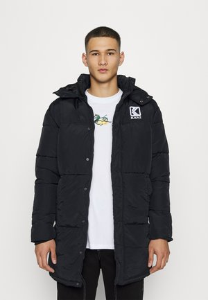 LONG HOODED PUFFER JACKET UNISEX - Zimní kabát - black