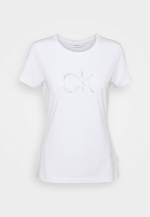 SLIM FIT DIAMANTE TEE - T-Shirt print - bright white