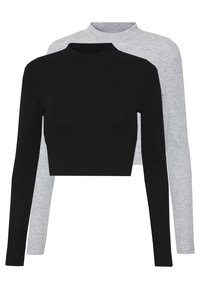 Even&Odd - 2 PACK - Long sleeved top - light grey/black - 0