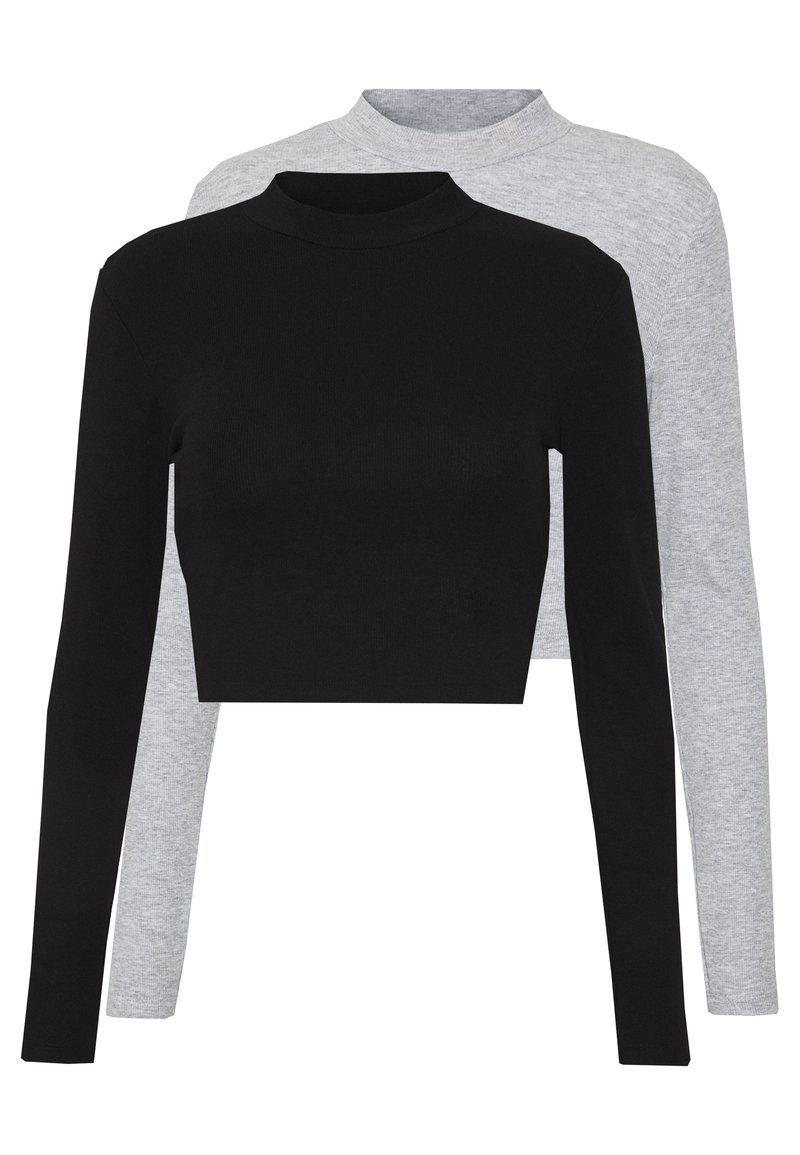 Even&Odd - 2 PACK - Long sleeved top - light grey/black