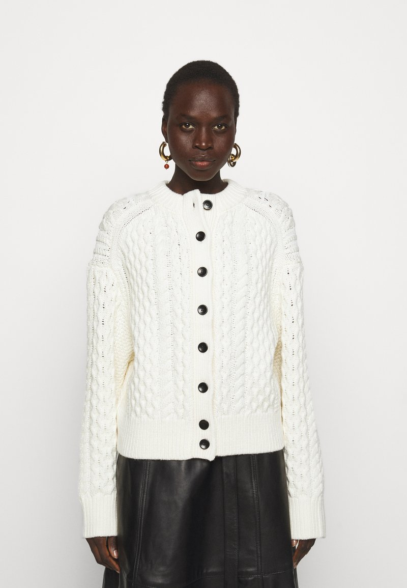 Proenza Schouler White Label - CABLE BUTTON BACK - Cardigan - ivory