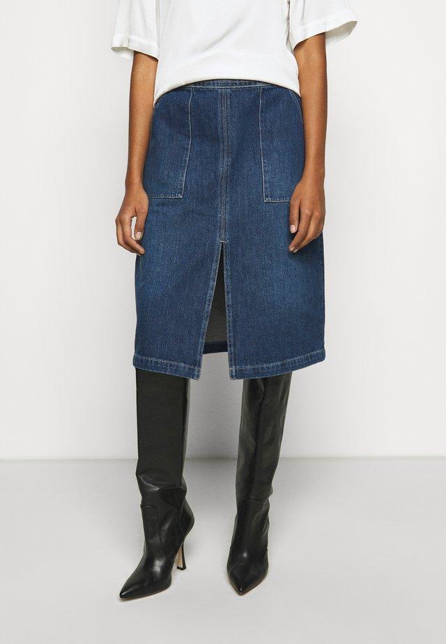 TRAPUNTO MIDI SKIRT - Jupe en jean - frame blue