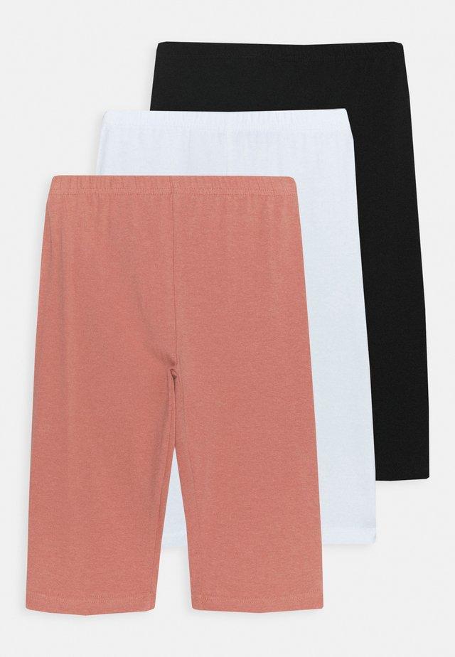 TEEN GIRL TROUSERS 3 PACK - Legging - black/white/salmon