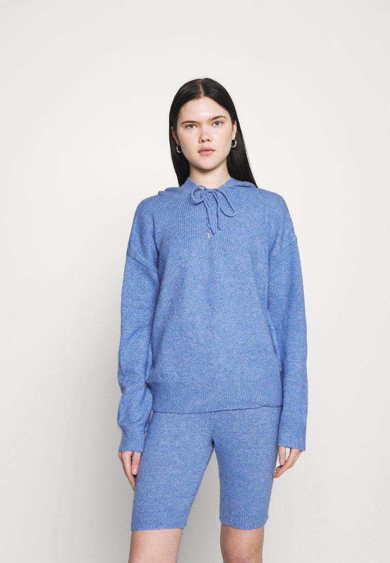 Missguided - TIE DETAIL HOODIE - Jumper - blue