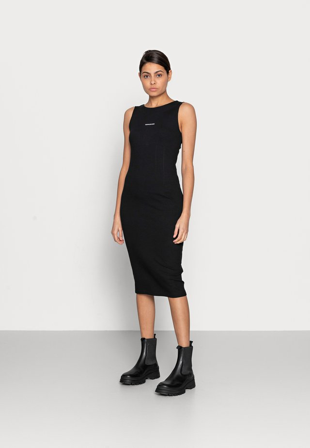 RIB ZIP DRESS - Jerseyjurk - black