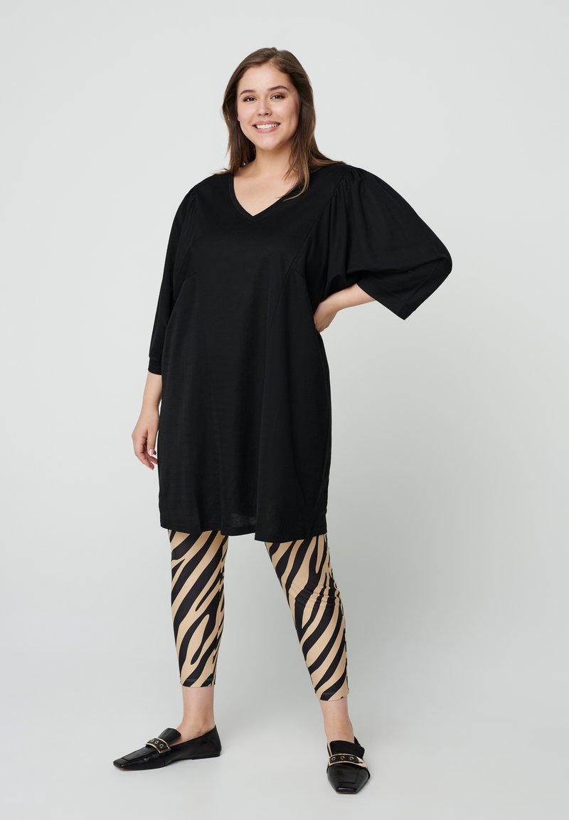Zizzi - ZEBRA - Leggings - Trousers - beige