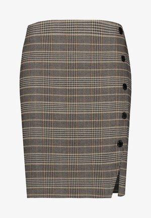 MIT KNOPFLEISTE - A-line skirt - black gemustert