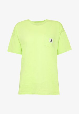 CARRIE POCKET - Basic T-shirt - lime/ black