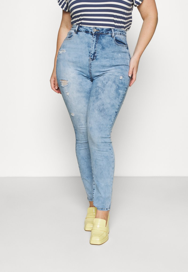 Missguided Plus - MINIMAL RIPPED - Jeans Skinny Fit - blue