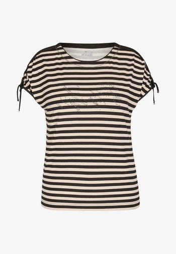MIT GERINGELTEM ALLOVER-MUSTER UND BINDEBäNDERN - Print T-shirt - schwarz