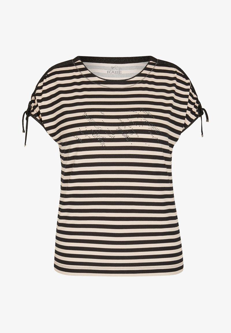 Rabe 1920 - MIT GERINGELTEM ALLOVER-MUSTER UND BINDEBäNDERN - Print T-shirt - schwarz