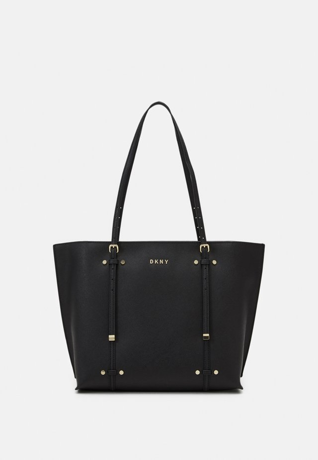 BO TOTE SAFFIANO - Shoppingveske - black/gold-coloured