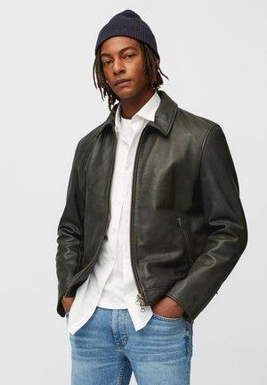 Leather jacket - dark grey melange