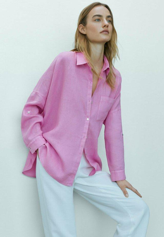 Overhemdblouse - neon pink