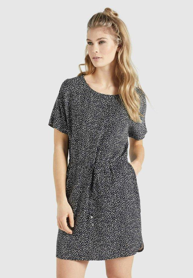 FIDELIA - Korte jurk - schwarz-weiß gepunktet