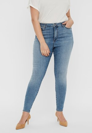 VERO MODA CURVE SKINNY FIT JEANS VMSOPHIACURVE HIGH WAIST - Jeans Skinny Fit - light blue denim