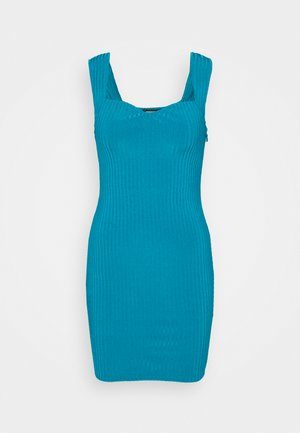 SWEETHEART NECK BODYCON DRESS - Strikket kjole - blue