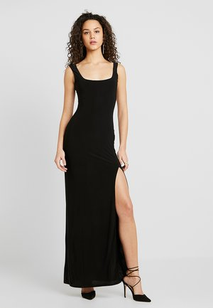 SQUARE NECK THIGH SPLIT DRESS - Maxi dress - black