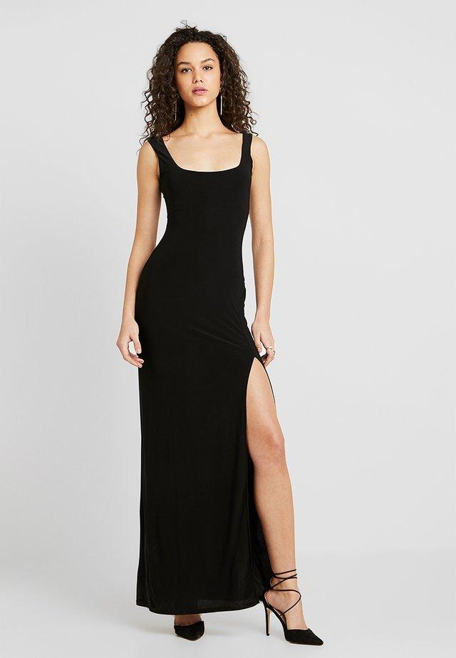 SQUARE NECK THIGH SPLIT DRESS - Maxi dress - black