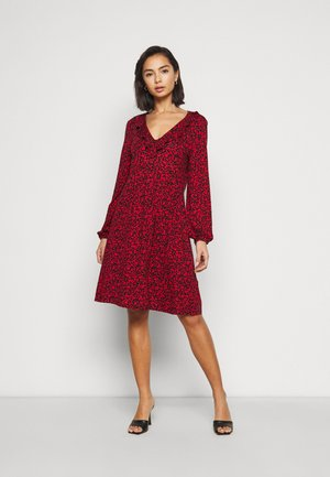 MINI BERRY FRILL V NECK DRESS - Jersey dress - red