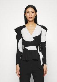 Who What Wear - WRAP  - Blouse - black/white - 0