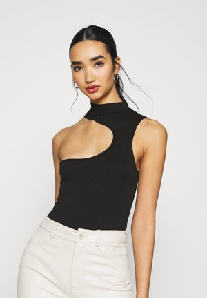 ASYMMETRIC CUT OUT NECK LINE BODY SUIT - Débardeur - black