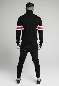 SIKSILK - ZIP THROUGH FUNNEL NECK - Felpa aperta - black/white/red - 2