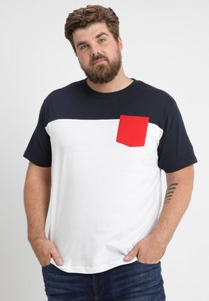 TONE POCKET TEE - Basic T-shirt - white/navy/firered