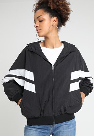 CRINKLE BATWING  - Outdoor jacket - black/white