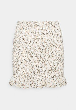 SMOCKED MINI - Mini skirt - white