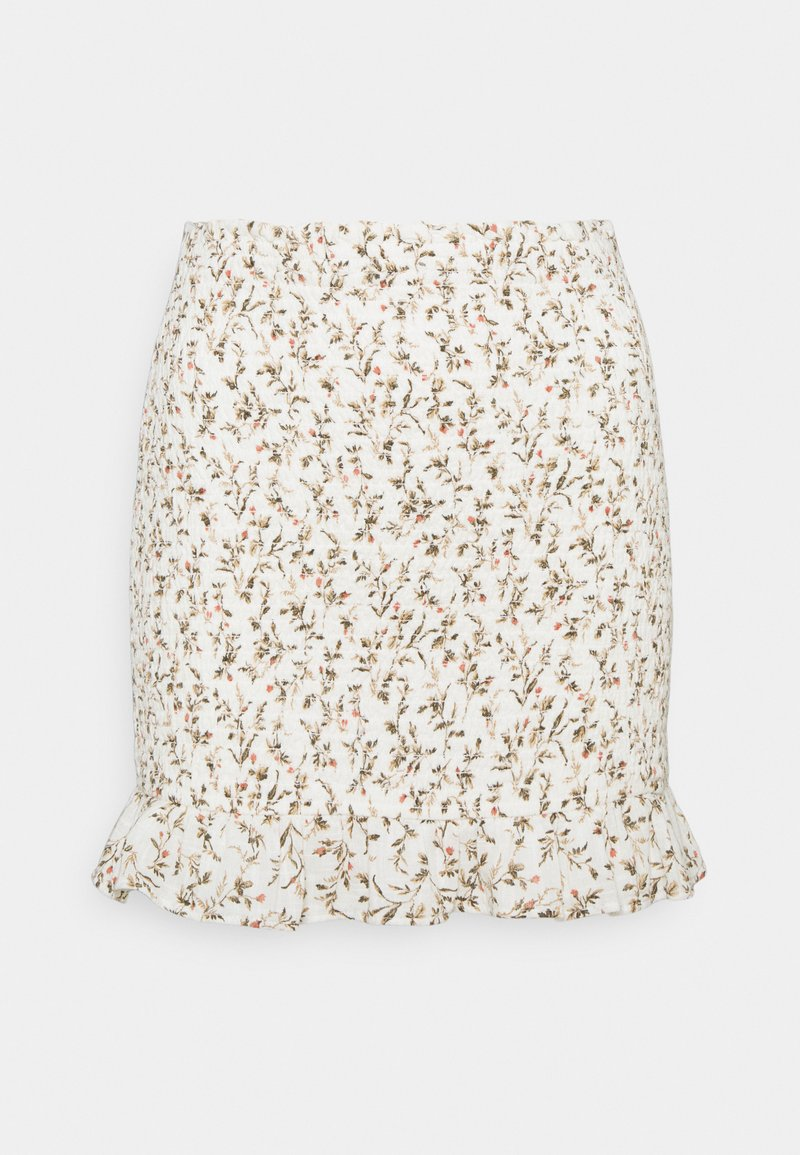 Abercrombie & Fitch - SMOCKED MINI - Mini skirt - white