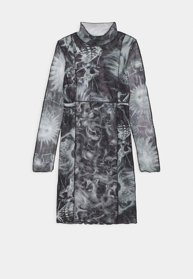 SPLICED BODYCON DRESS - Korte jurk - black/white