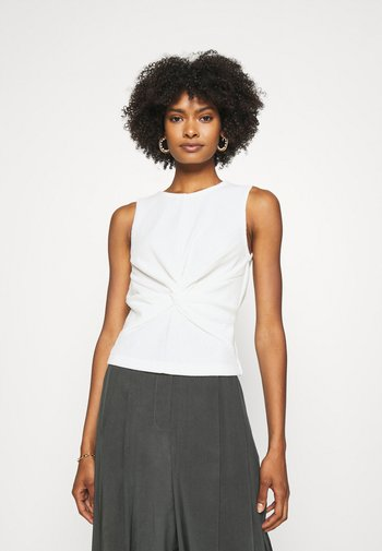SLVLESS TWIST FRONT KNIT - Basic T-shirt - white