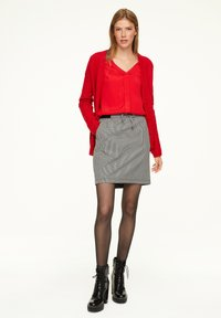 comma casual identity - MIT HAHNENTRITT-MUSTER - A-line skirt - cream houndstooth - 1