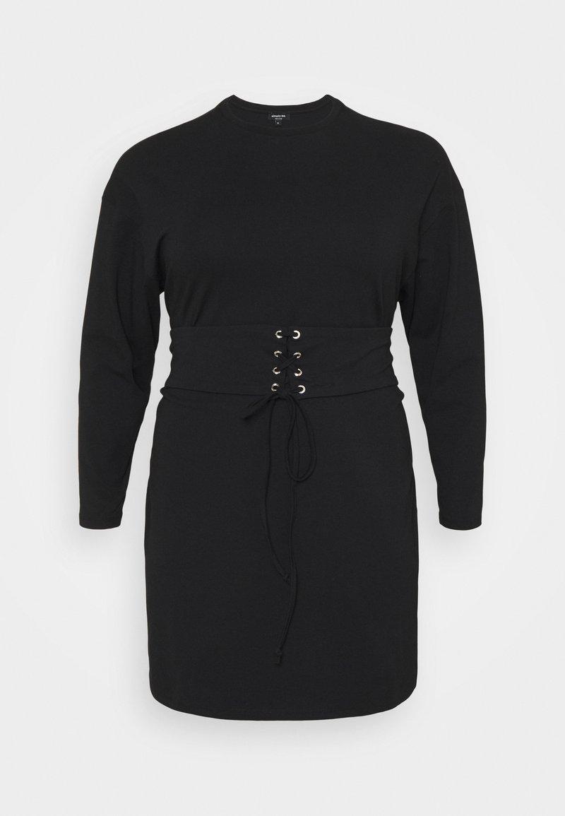 Simply Be - CORSET DRESS - Denní šaty - black