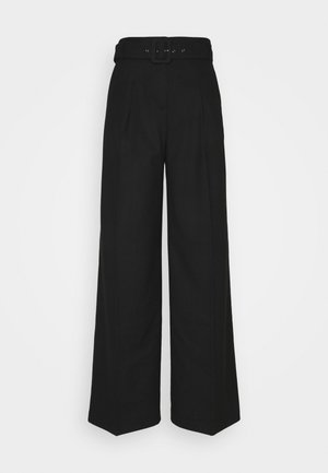 HIGH RISE WIDE LEG - Pantalones - black