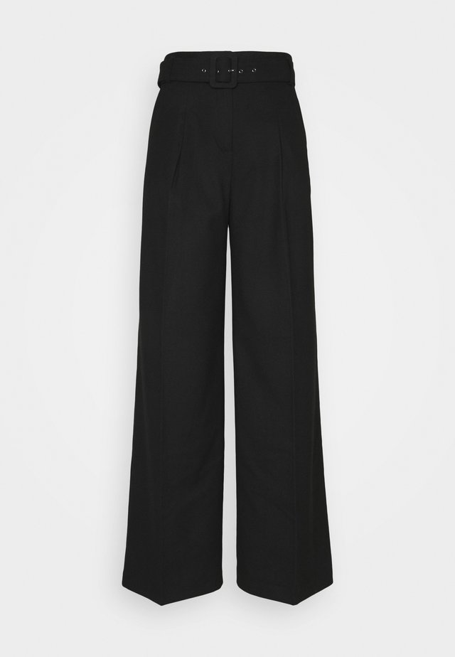 HIGH RISE WIDE LEG - Broek - black