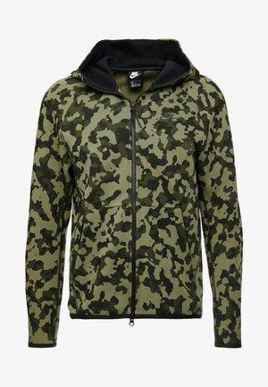 HOODIE  - Zip-up hoodie - medium olive/black