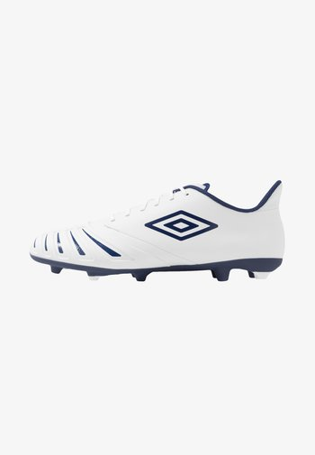 UX ACCURO III PREMIER FG - Moulded stud football boots - white/medieval blue/blue radiance