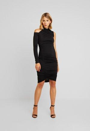 RUCHED ONE SHOULDER BODYCON DRESS - Etuikleid - black