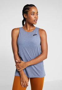 Nike Performance - YOGA TANK KEYHOLE - T-shirt de sport - mystic navy/heather/black - 0