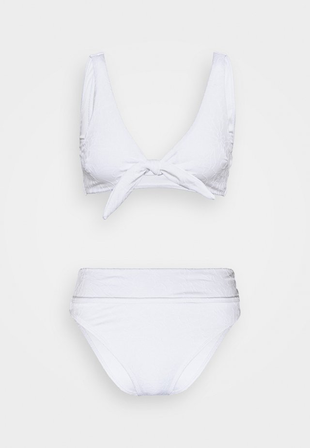 TIE FRONT CROP HIGHWAISTED CHEEKY SET - Bikini - white