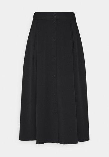 SIGRID BUTTON SKIRT - Jupe trapèze - black dark solid