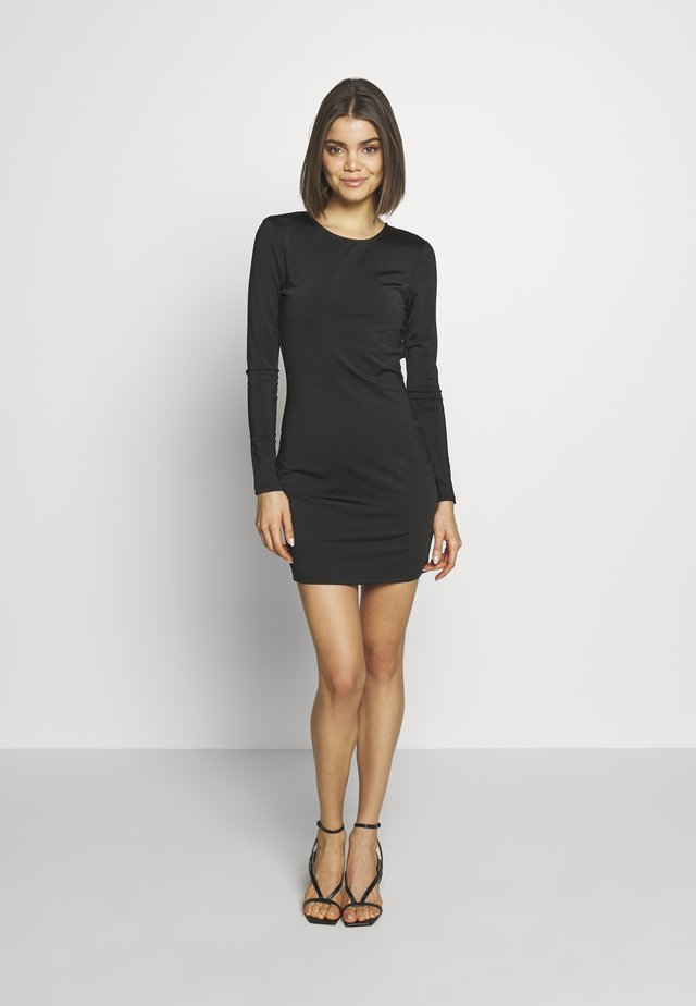 OPEN BACK DETAIL DRESS - Vestito di maglina - black
